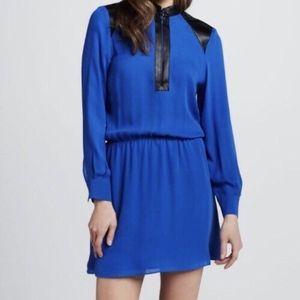Parker blue silk dress w/ black leather accent
